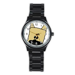 Peeping Fawn Great Dane With Docked Ears Stainless Steel Round Watches