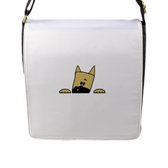 Peeping Fawn Great Dane With Docked Ears Flap Messenger Bag (L)
