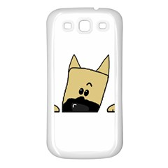 Peeping Fawn Great Dane With Docked Ears Samsung Galaxy S3 Back Case (White)
