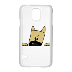 Peeping Fawn Great Dane With Docked Ears Samsung Galaxy S5 Case (White)