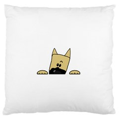 Peeping Fawn Great Dane With Docked Ears Large Flano Cushion Cases (Two Sides)