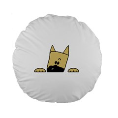 Peeping Fawn Great Dane With Docked Ears Standard 15  Premium Flano Round Cushions