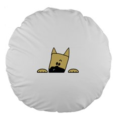 Peeping Fawn Great Dane With Docked Ears Large 18  Premium Flano Round Cushions