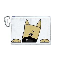 Peeping Fawn Great Dane With Docked Ears Canvas Cosmetic Bag (M)
