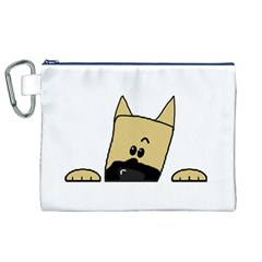 Peeping Fawn Great Dane With Docked Ears Canvas Cosmetic Bag (XL)