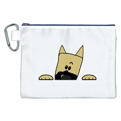 Peeping Fawn Great Dane With Docked Ears Canvas Cosmetic Bag (XXL)