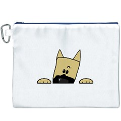 Peeping Fawn Great Dane With Docked Ears Canvas Cosmetic Bag (XXXL)