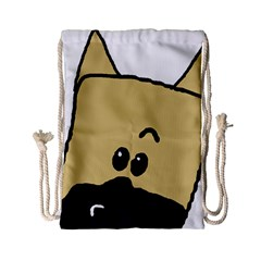 Peeping Fawn Great Dane With Docked Ears Drawstring Bag (Small)