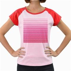 Pink Gradient Chevron Women s Cap Sleeve T Shirt