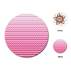 Pink Gradient Chevron Playing Cards (round)