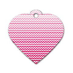 Pink Gradient Chevron Dog Tag Heart (One Side)