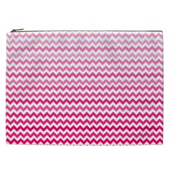 Pink Gradient Chevron Cosmetic Bag (XXL)