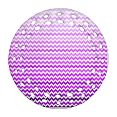 Purple Gradient Chevron Round Filigree Ornament (2Side)