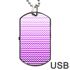 Purple Gradient Chevron Dog Tag Usb Flash (one Side)