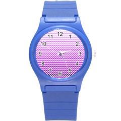 Purple Gradient Chevron Round Plastic Sport Watch (S)