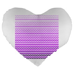 Purple Gradient Chevron Large 19  Premium Flano Heart Shape Cushions