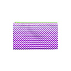Purple Gradient Chevron Cosmetic Bag (XS)