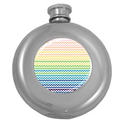 Pastel Gradient Rainbow Chevron Round Hip Flask (5 oz)
