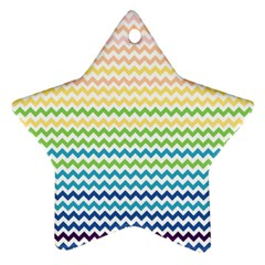Pastel Gradient Rainbow Chevron Star Ornament (Two Sides)