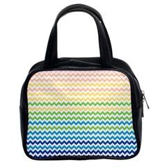 Pastel Gradient Rainbow Chevron Classic Handbags (2 Sides)
