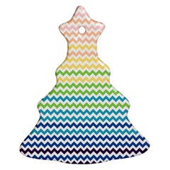 Pastel Gradient Rainbow Chevron Ornament (christmas Tree)