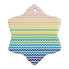 Pastel Gradient Rainbow Chevron Snowflake Ornament (2-Side)