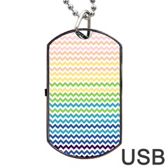 Pastel Gradient Rainbow Chevron Dog Tag Usb Flash (one Side)