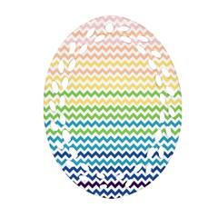 Pastel Gradient Rainbow Chevron Ornament (Oval Filigree)