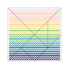 Pastel Gradient Rainbow Chevron Acrylic Tangram Puzzle (6  X 6 )