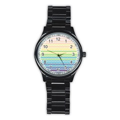 Pastel Gradient Rainbow Chevron Stainless Steel Round Watches