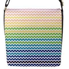 Pastel Gradient Rainbow Chevron Flap Messenger Bag (S)