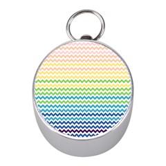 Pastel Gradient Rainbow Chevron Mini Silver Compasses