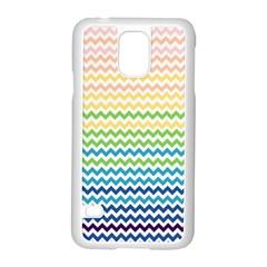 Pastel Gradient Rainbow Chevron Samsung Galaxy S5 Case (White)