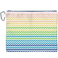 Pastel Gradient Rainbow Chevron Canvas Cosmetic Bag (XXXL)