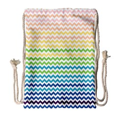 Pastel Gradient Rainbow Chevron Drawstring Bag (Large)