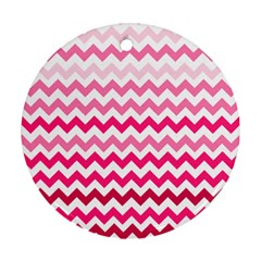 Pink Gradient Chevron Large Ornament (Round)