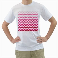 Pink Gradient Chevron Large Men s T-Shirt (White) (Two Sided)