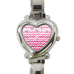 Pink Gradient Chevron Large Heart Italian Charm Watch