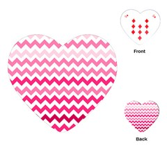 Pink Gradient Chevron Large Playing Cards (Heart)