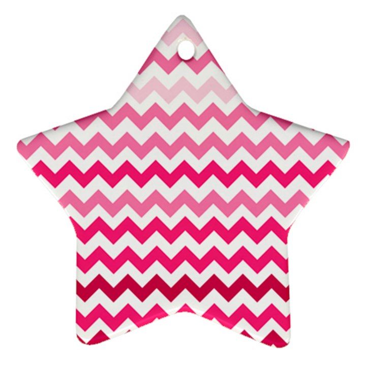 Pink Gradient Chevron Large Star Ornament (Two Sides)