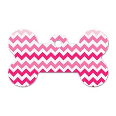 Pink Gradient Chevron Large Dog Tag Bone (Two Sides)