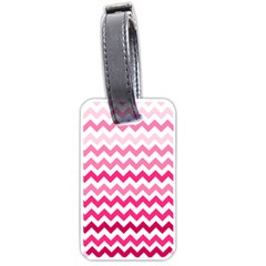 Pink Gradient Chevron Large Luggage Tags (two Sides)