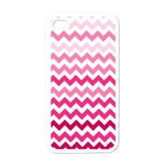 Pink Gradient Chevron Large Apple iPhone 4 Case (White)