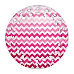 Pink Gradient Chevron Large Ornament (round Filigree)