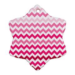 Pink Gradient Chevron Large Snowflake Ornament (2-Side)