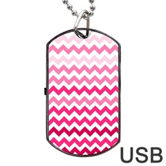 Pink Gradient Chevron Large Dog Tag USB Flash (One Side)