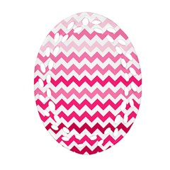 Pink Gradient Chevron Large Oval Filigree Ornament (2-Side)