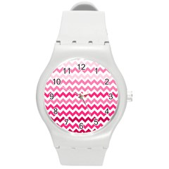 Pink Gradient Chevron Large Round Plastic Sport Watch (M)
