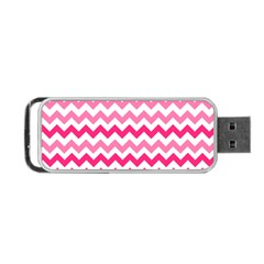 Pink Gradient Chevron Large Portable USB Flash (Two Sides)