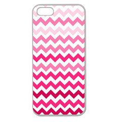 Pink Gradient Chevron Large Apple Seamless iPhone 5 Case (Clear)